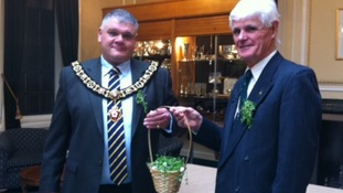 Shamrocks being handed to the Lord Mayor of Leicester earlier today