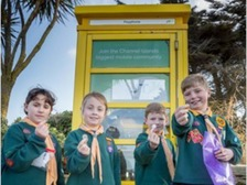 Jersey Cubs at the opening of the free phone boxes.