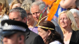 Prince of Wales watching the Olympic lame on the Torch Relay leg between Enfield and Haringey