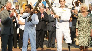 Prince of Wales and Duchess of Cornwall with Olympic Torch
