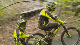 Mountain bikers are training on the trails at Glentress