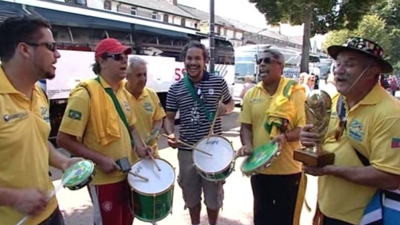 Brazilian football fans in Cardiff