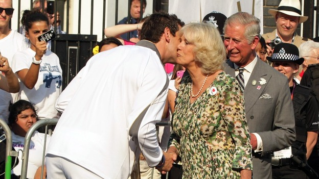 Duchess of Cornwall speaking with Torchbearer 129 Scott Moorhouse