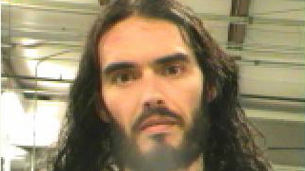Police booking photograph of Russell Brand