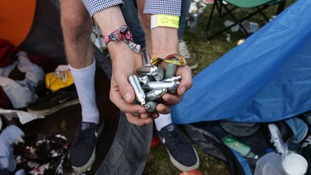 Nitrous Oxide canisters at a music festival