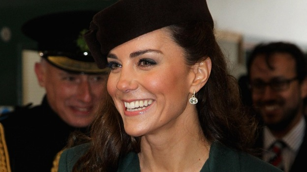 The Duchess presented shamrocks to the Irish Guards during her visit.