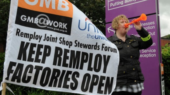 Workers strike over plans to close three Remploy sites in the Midlands
