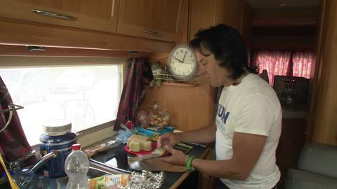 In the camper kitchen with Martin
