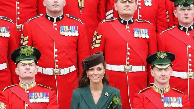 The Duchess of Cambridge poses for an official photograph as she visits Aldershot Barracks on St Patrick's Day.