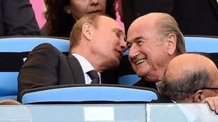 Russian President Vladimir Putin with Sepp Blatter at last year's World Cup.
