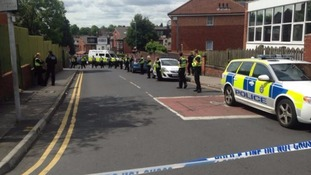 Road closed after disturbance at Bangladeshi Community Centre.