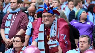 The mood has definitely changed at Wembley for Aston Villa fans.