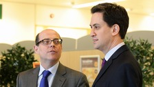 BBC Political Editor Nick Robinson and Labour leader Ed Miliband.
