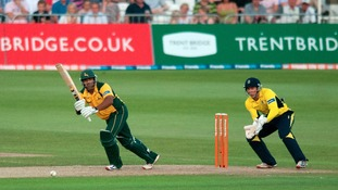 Samit Patel hits out during the Friends Life T20 match