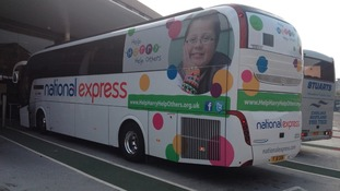 The coach is en-route to London where Harry Moseley's mother will carry the Olympic Torch