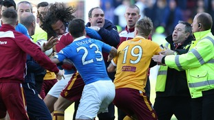 Police investigate players' brawl in Motherwell v Rangers play-off final