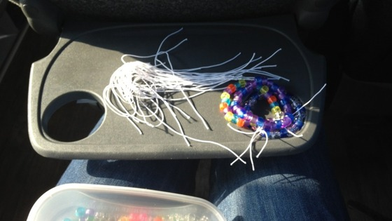 Supporters on the coach have been making bracelets