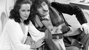 Actress Mary Tamm, with Dr Who (Tom Baker) and K9 the robot dog