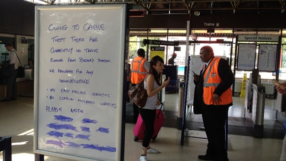 Passengers arriving at Bedford Station are made aware of the cable theft