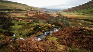A general view of a stream as the weather closes in on top of Brecon Beacons