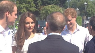 The Duke and Duchess of Cambridge and Prince Harry arrive in Rotherhithe.