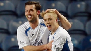 Aidan Smith (right) celebrates his goal with team mate Michael Paton during the Scottish Championship match at Ibrox in March