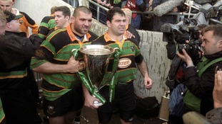 Saints with the cup after their win over Munster in 2000