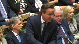 Cameron talking during PMQs