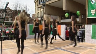 Irish dancers in action at the St Patrick's Day celebrations in Derby