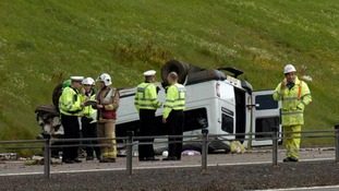 The minibus overturned on the A74