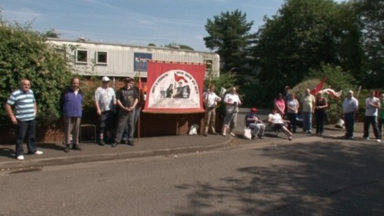 Remploy workers&#x27; picket line in Merthyr