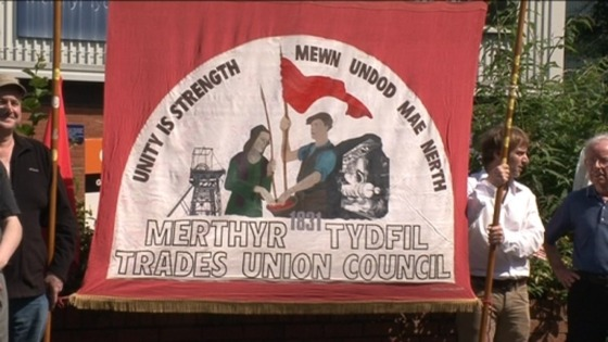 Merthyr Tydfil trades union flag