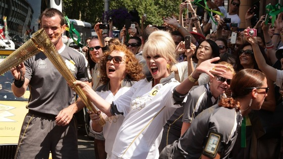 Joanna Lumley &amp; Jennifer Saunders with Olympic Flame