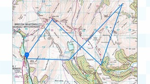 The route across the Brecon Beacons