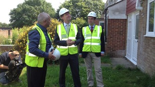 Energy Minister Greg Barker MP visits the Lakes Estate in Bletchley