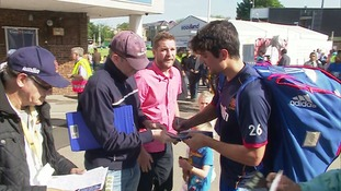 Alastair Cook arrives at the County Ground.