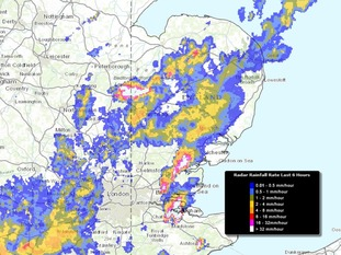 The rainfall radar at 6.50am showed the heaviest downpours in Cambridgeshire and Essex.