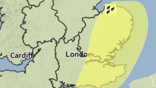 The East of England has a yellow weather warning in force for heavy rain valid until 7pm on Friday