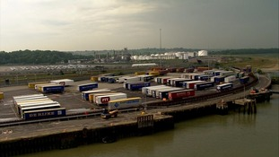 Harwich Port in Essex this morning