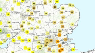 Temperatures in the Anglia region at 11am on Friday 5 June 2015.