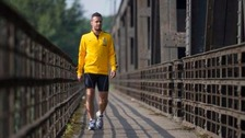 Nicolò De Marchi sported his club colours in some isolated environments as he trekked the 683 miles to Berlin.