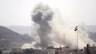 Smoke from a Saudi attack