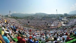 A general view of the stadium before Pope Francis is celebrating a Holy Mass in Sarajevo.