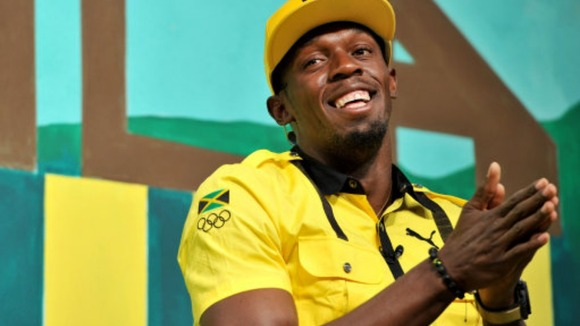 Jamaica's Usain Bolt speaks at a press conference in east London
