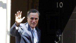 Republican presidential candidate Mitt Romney enters Number 10