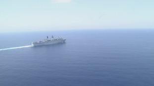 HMS Bulwark pictured on a mission yesterday.