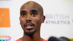Mo Farah speaking in Birmingham yesterday.