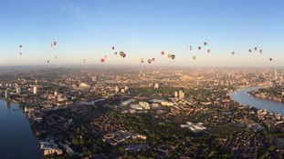 Over 50 balloons in the skies above London today