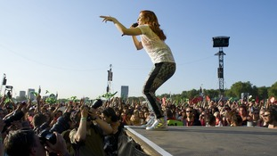 Katy B performs her set at Hyde Park.