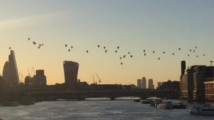 Hot air balloons from Waterloo Bridge